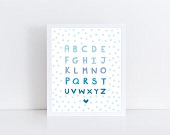 Alphabet Nursery Print - Kids Wall Art - Nursery Art - Printable Nursery Art - Kids Room - Baby Boy Nursery - Printable Art