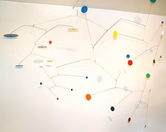 SALE!!! 30% off XLarge Art Mobile Modern Hanging Calder Styled Abstract Art Constellations Colorful Circles Home Decor