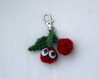 Cheery Cherry Key-chain! - Hand Knitted Food Friend