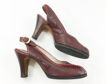 40s50s Size 7.5 Red Wine Lizzard Slingback Heels | Red Leather Trim |  I. Miller Shoes