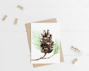 "Snow Pine Cone - Note Cards - 4""x6"" - Individual - Greeting Card - Gifts - Nature Art - Pine Cone - Winter - Seasonal - Pine Tree - Snow"