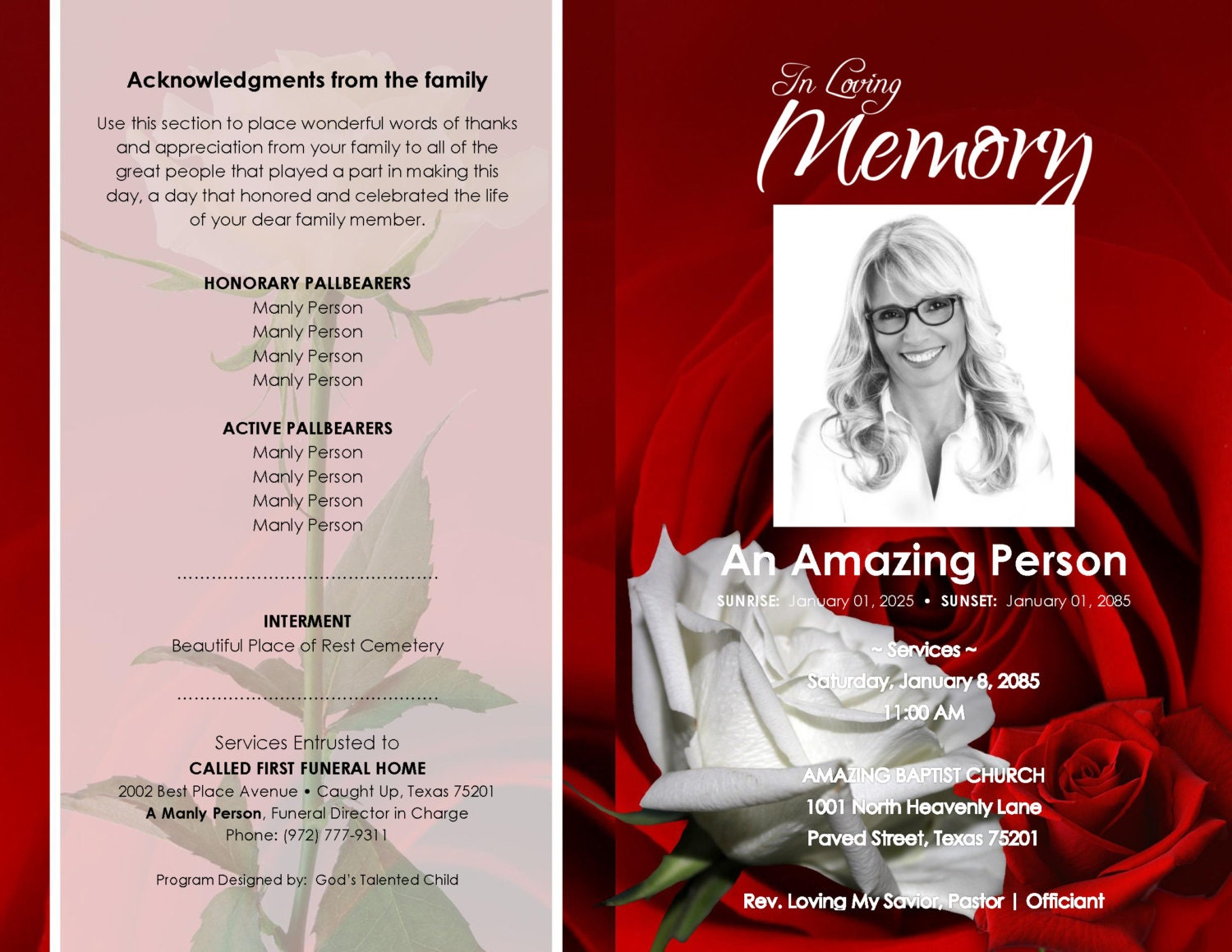 Red And White Roseville Printable Funeral Program Template
