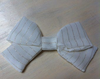 big bow gold and white pinstripes