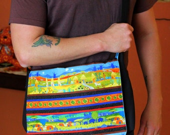Medium Messenger Bag, cross the body purse, cross the body bag, with African village scenery in vibrant colors
