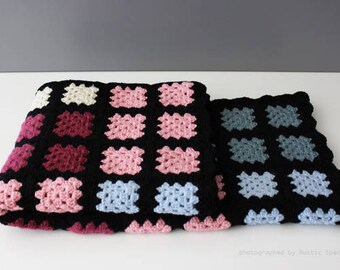 Multi Color Crochet Granny Square Blanket