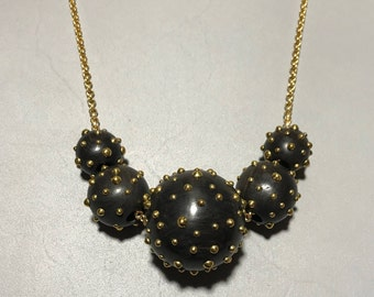 """36"""" Gold Plated Brass Studded Rosewood Ball Necklace"""