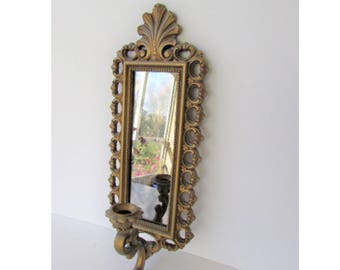 Mid Century Dart Co Resin Mirror Sconce - Wall Candle Sconce - Hollywood Regency - Ornate Gold - Smoky Mirror -