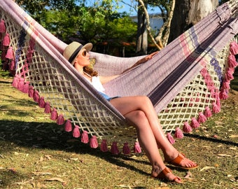 Tintoreo luxury hammock lilac & pink - Classic fringe - Worldwide free shipping
