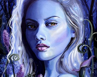 "11 x 14, Fine Art Print, ""Aoibheann"", painting by Kamille Freske, fairy art, fantasy art, pagan art, atlar art, wicca, faerie art, goddess"