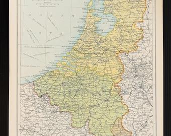1921 antique map of netherlands belgium luxembourg holland published by bartholomew