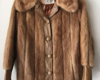 Light Brown Genuine Mink Velvet&Soft Fur With Leather Edge Inserts Women's Size Small.