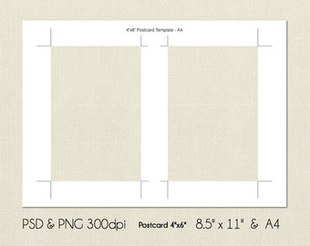 4x6 Inch Postcard Digital Template, PSD and PNG Formats, Instant Download