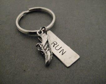 Run RUNNER Key Chain / Bag Tag - Shoe Plus Large RUN Pendant on Ball Chain or Key Ring - Unisex Runner Bag Tag / Key Ring - Gift for Runners