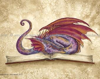 5x7 Bookwyrm II bookworm dragon PRINT by Amy Brown