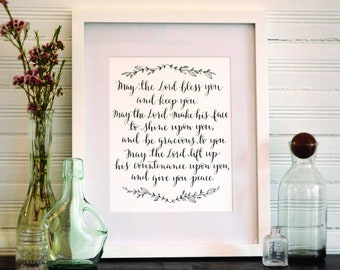SALE | Benediction | May the Lord Bless You | Baptism Gift | Wedding Gift | Housewarming | Christian Blessing