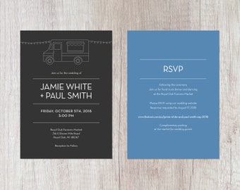 Food Truck Invitation | Wedding, Engagement or Birthday Party | Black and White | Digital Download | RSVP Backside | Custom Color on Back