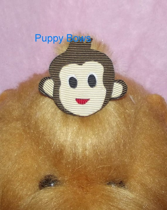 Puppy Bows ~ Does your boy act like a little monkey?  barrette or bands pet dog bow (fb26)