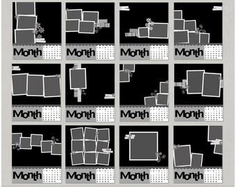CD Case Calendar Digital Scrapbooking Templates