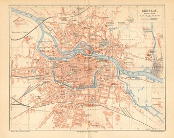 1893 Original Antique Map of Breslau - Wroclaw, as Part of the German Empire