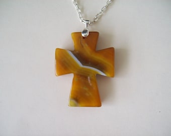 """Yellow Striped Agate Cross Pendant with Chain - 2-1/4"""" long"""