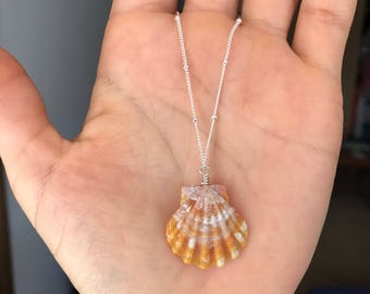 Hawaiian Shnrise Shell Necklace; Sterling Silver; Seashell; Boho