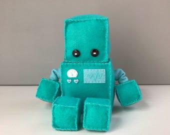 Felt robot softie - turquoise blue