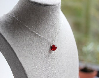 Delicate GARNET necklace - Silver garnet necklace - January birthstone necklace - Ruby Red Quartz  necklace - Garnet Jewelry - Gift for her