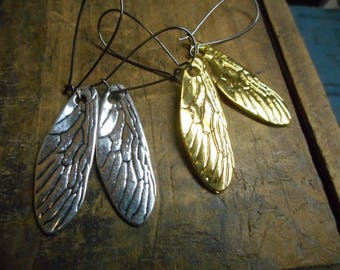 Cicada Song. Cicada Wing earrings in gold or silver.