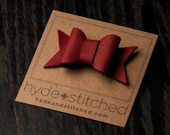 "Ruby Red Leather Hair Bow, One 2.5"" Handcrafted Leather Bow, Hair Accessory"