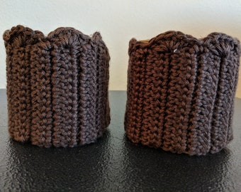 Crocheted Boot Cuffs, Brown, Boot Socks, Clothing, Women's Clothing