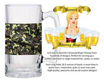 Beer Mug - Camo Green 18 Design - 26.5 oz Jumbo Size - FREE SHIPPING