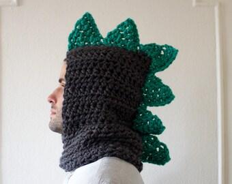 Mens Dinosaur Crocheted Gray & Teal Snoodie