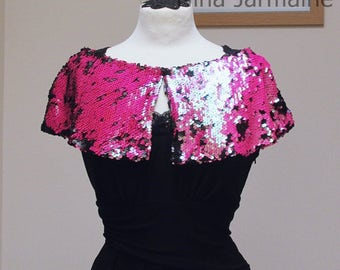 Cape - pink and black sequin cape- sequin cape - elegant style cape - size 6-8