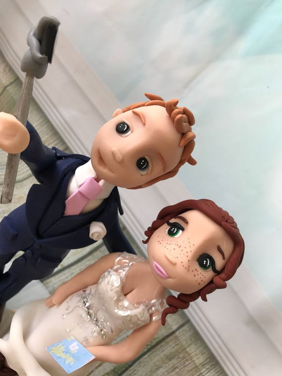 Fully personalised selfie stick clay Wedding Cake Topper highly detailed and fully sculpted Keepsake - Bespoke Premium Service