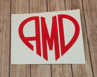 Heart Monogram Decal - Personalized Vinyl Decal - Initial Decal - Sticker - Monogram Sticker - Cup Decal - Laptop Decal