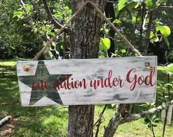 One nation under God Americana wood sign