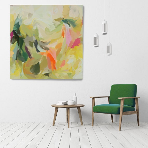 """Dancing Summer, Art Abstract Print on Canvas up to 50"""", Green Red Abstract Canvas Art Print, Sunny City by Irena Orlov"""