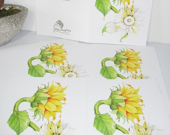 Sunflower greeting card watercolor print 5x7 greeting card 5 card pack summer sunshine