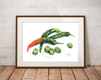 Greens  Art - Painting of Peppers Food Still Life Print Watercolor Painting Fine Art Home Decor Realistic Kitchen art