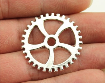 4 Large Gear Charms, Antique Silver Tone (1F-227)