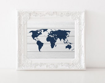 Navy World Map - Rustic Wood - World Map Wood - Faux Wood World Map - World Map Art Print - White Wood World Map - Travel Wall Art