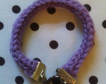 Hand Knit Lavender I-Cord Bracelet