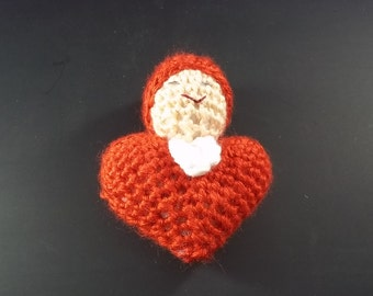 Pocket Doll - Crocheted Heart Baby - Red - FREE SHIPPING