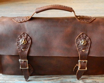 Distressed Brown Leather Tool Bag