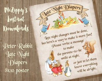 Peter Rabbit Late Night Diapers INSTANT DOWNLOAD Baby shower Poster