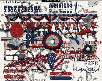 USA Patriotic Digital Scrapbook - 4th of July Digital Clipart - Military Scrapbooking - Red, White, Blue INSTANT DOWNLOAD