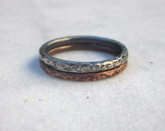 Hammered band stacking rings,  copper and sterling silver simple rings, mixed metal dainty stackable rings, minimal MADE TO ORDER
