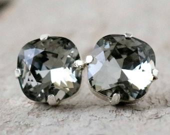 Black Diamond | Swarovski Crystal | Cushion Cut | Swarovski Earrings | Square Earrings | Wedding Jewelry | Gift For Her | Grey Wedding