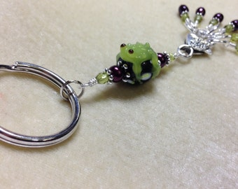 Frog Stitch Marker Holder- Snag Free Knitting Markers- Beaded Key Ring- Chain- Gifts for Knitters