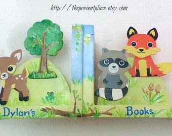 personalized bookends,forest creatures,fox bookends,forest bookends,deer bookends,woodland animals,forest animal bookends,fox bookends